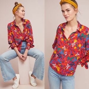 Anthropologie Maeve Blithe Button Down Floral Top